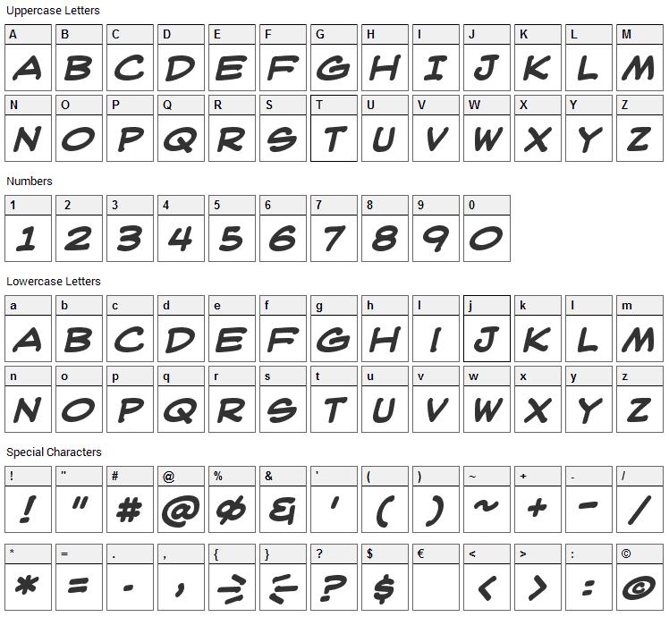WebLetterer Font Character Map