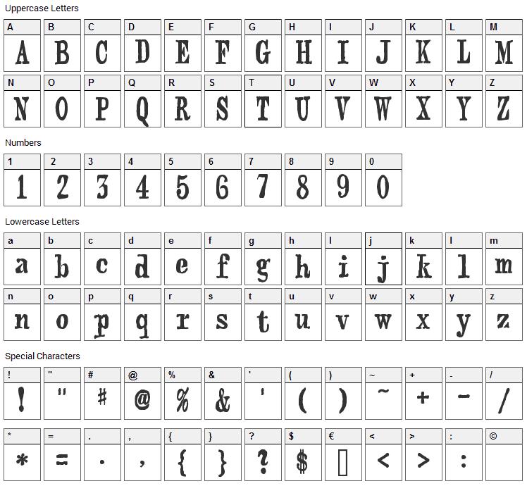 Webster Font Character Map