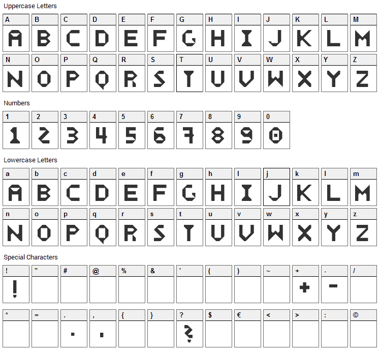 Wecker Font Character Map