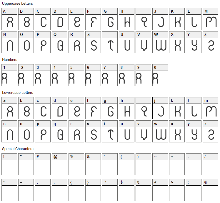 Weknow Font Character Map