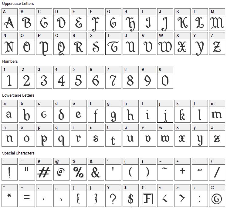 Wellsley Font Character Map