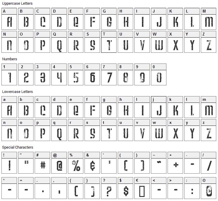 Weltron Urban Font Character Map