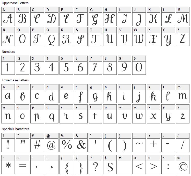 Wenceslas Font Character Map