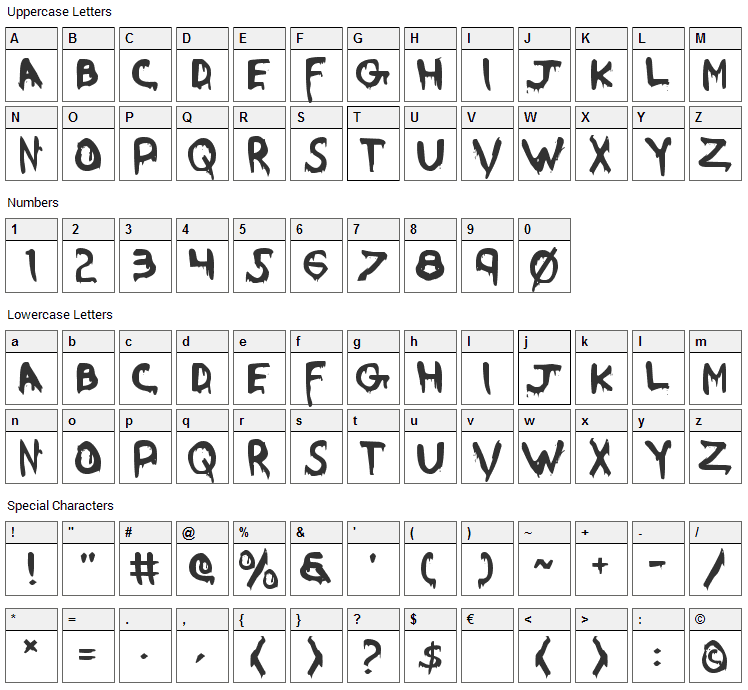Were Beast Font Character Map