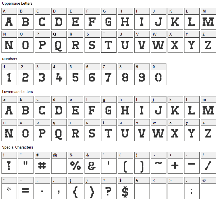 West Test Font Character Map