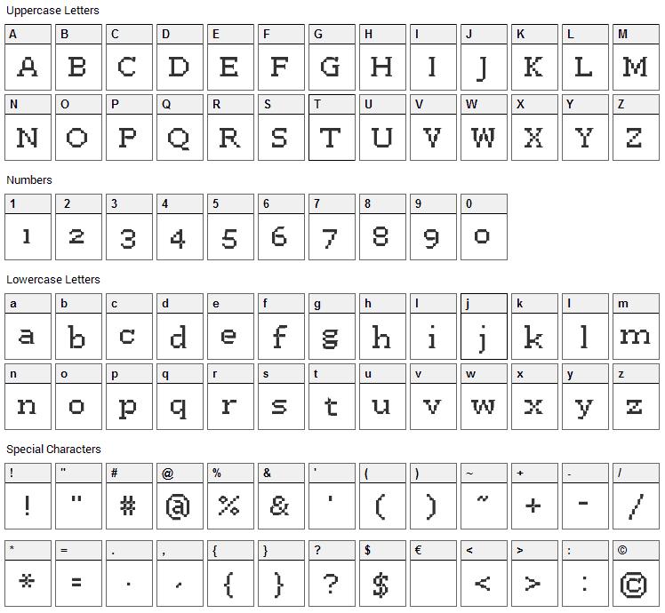 Westa Seven Font Character Map