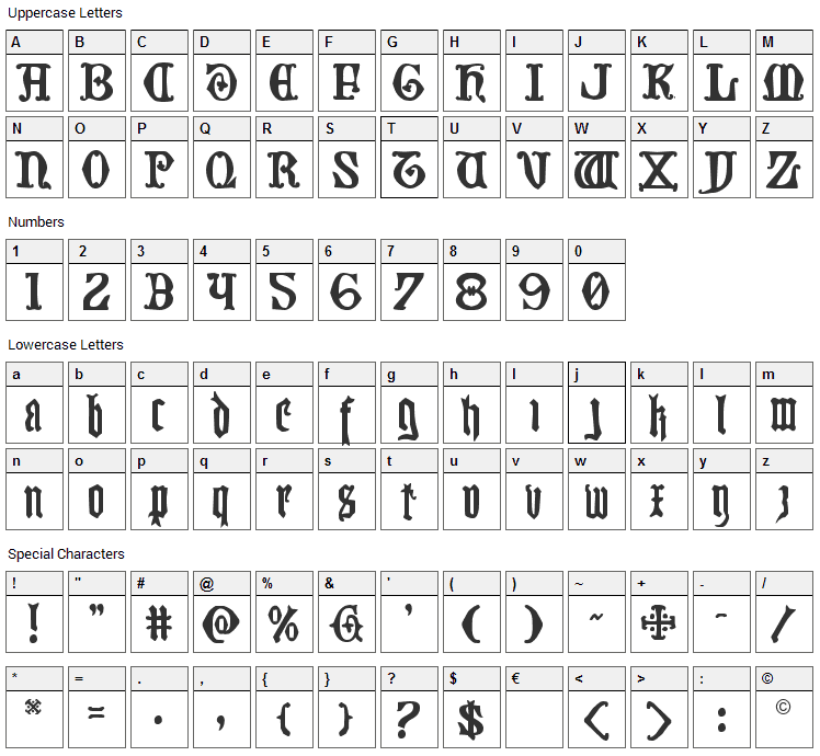 Westdelphia Font Character Map