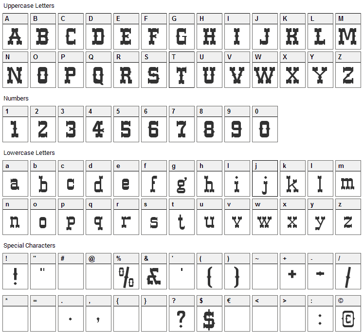 Western Font Character Map