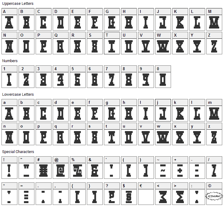 Western_Rail Font Character Map