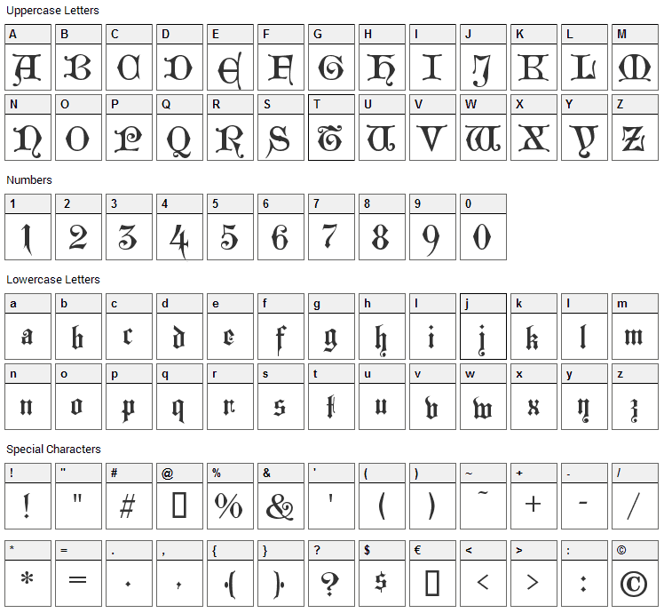 Westminster Gotisch Font Character Map