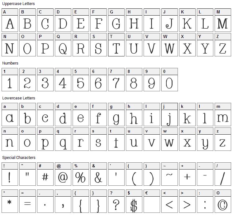 Whackadoo Font Character Map