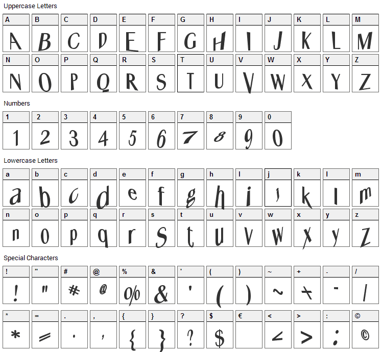 Whats Happened Font Character Map
