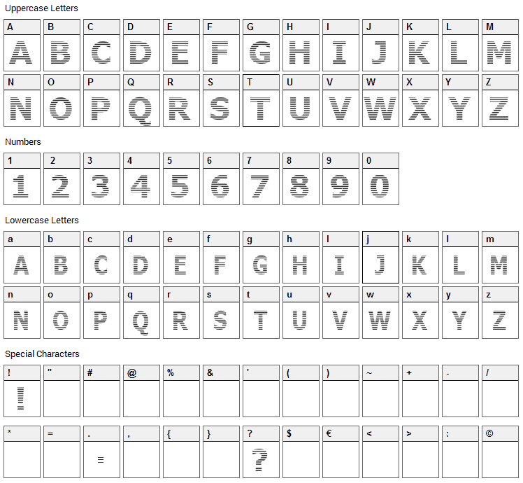 Where is the rest Font Character Map