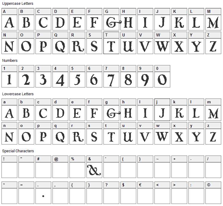 Whiffy Font Character Map