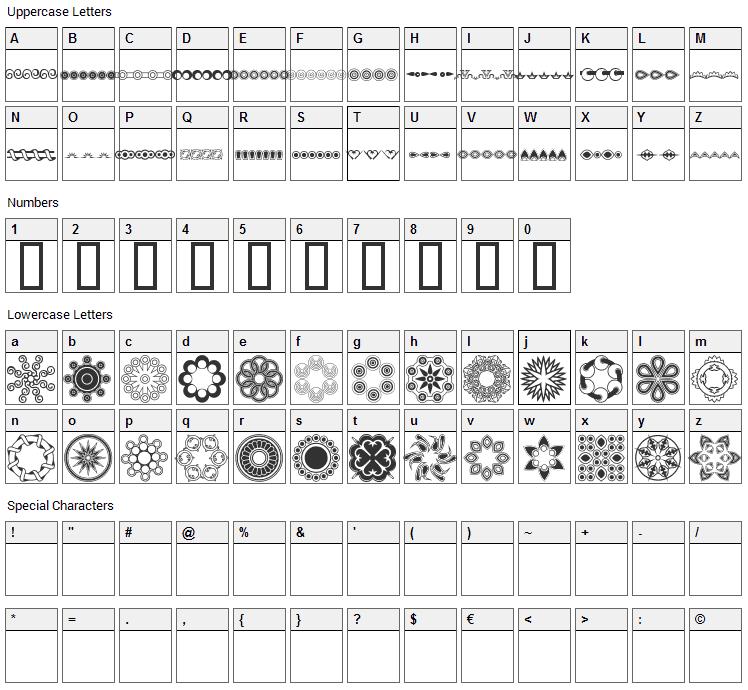 Whirlygigs Font Character Map