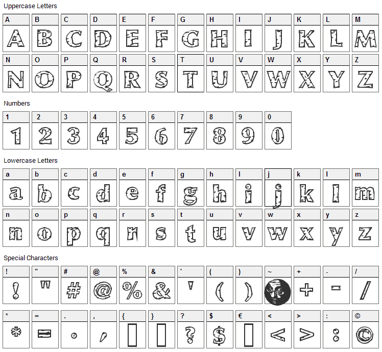 White Birch Font Character Map