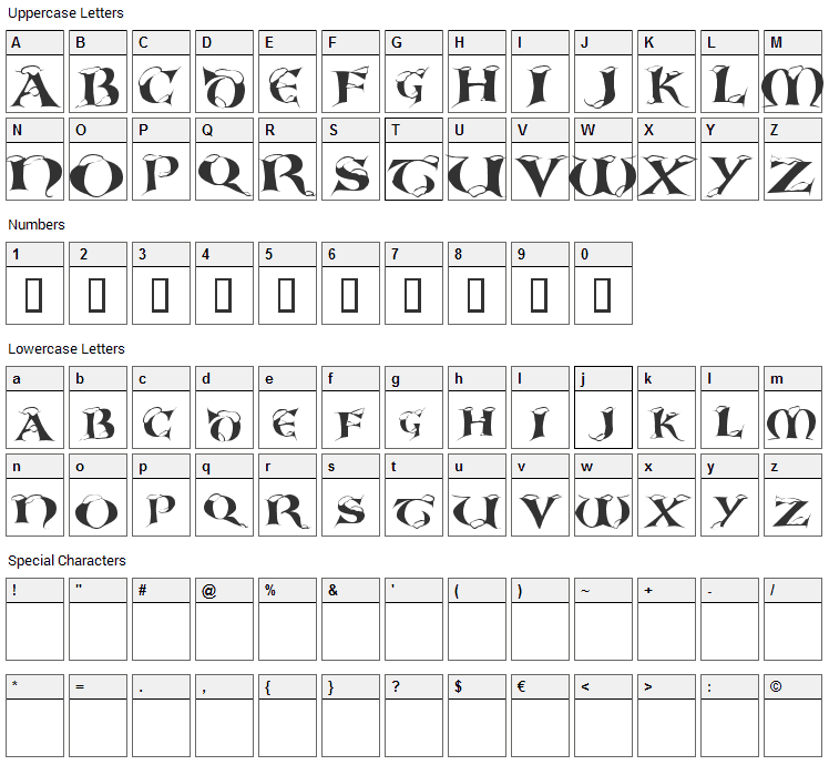 White Christmas Font Character Map