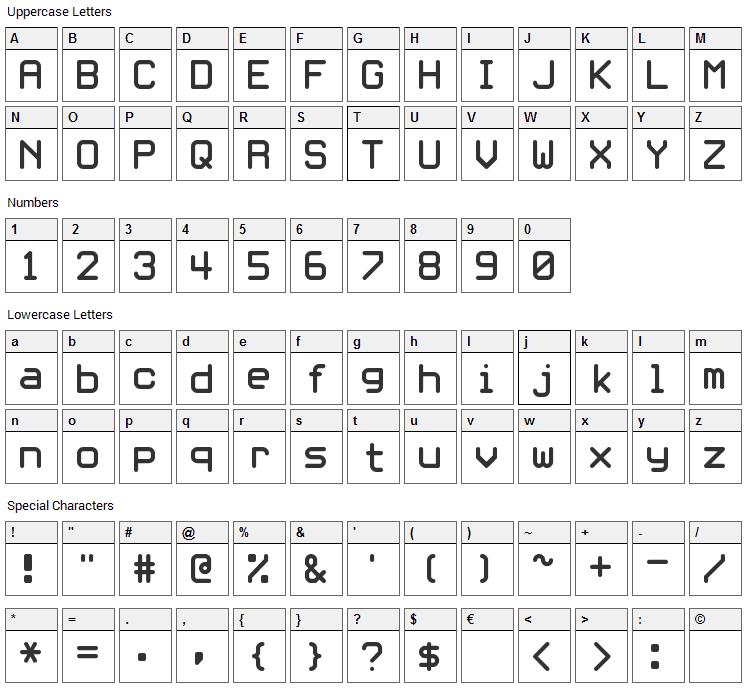 White Rabbit Font Character Map
