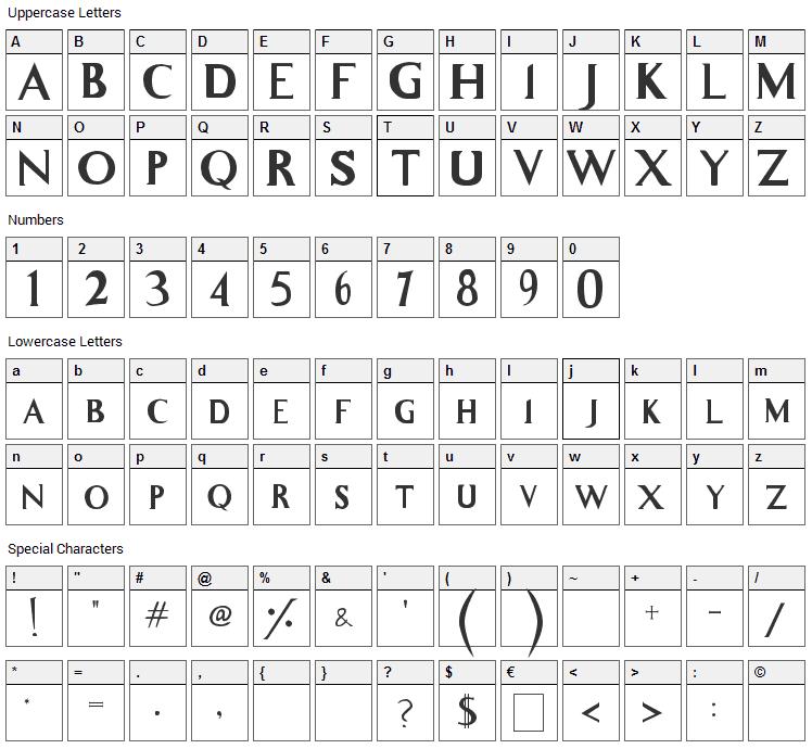 Whitelighter Font Character Map