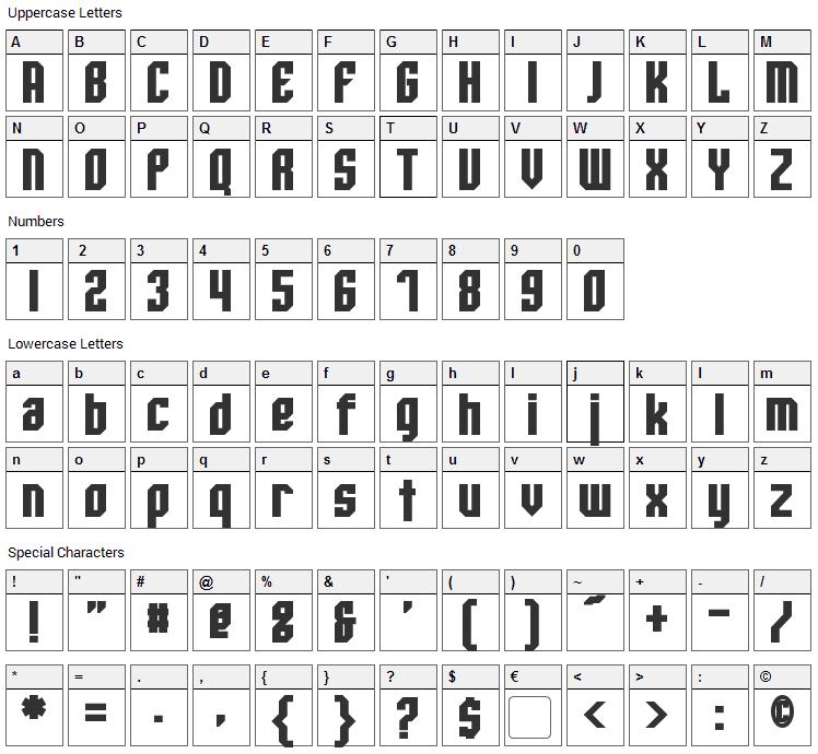 Whitestone Font Character Map