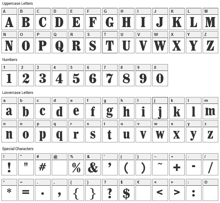 Whitin Font Character Map