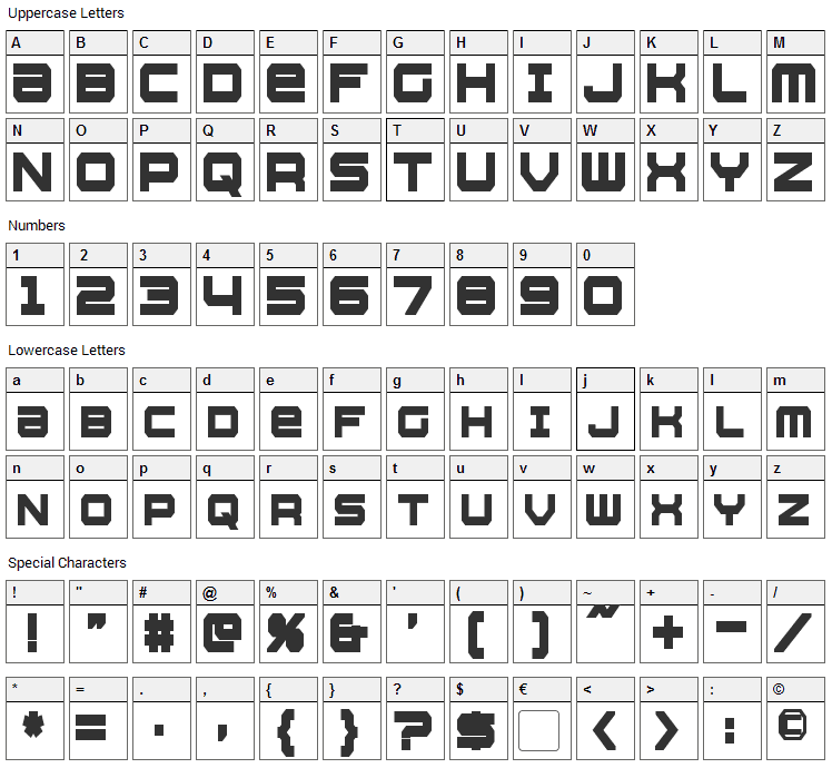 Whittle Font Character Map