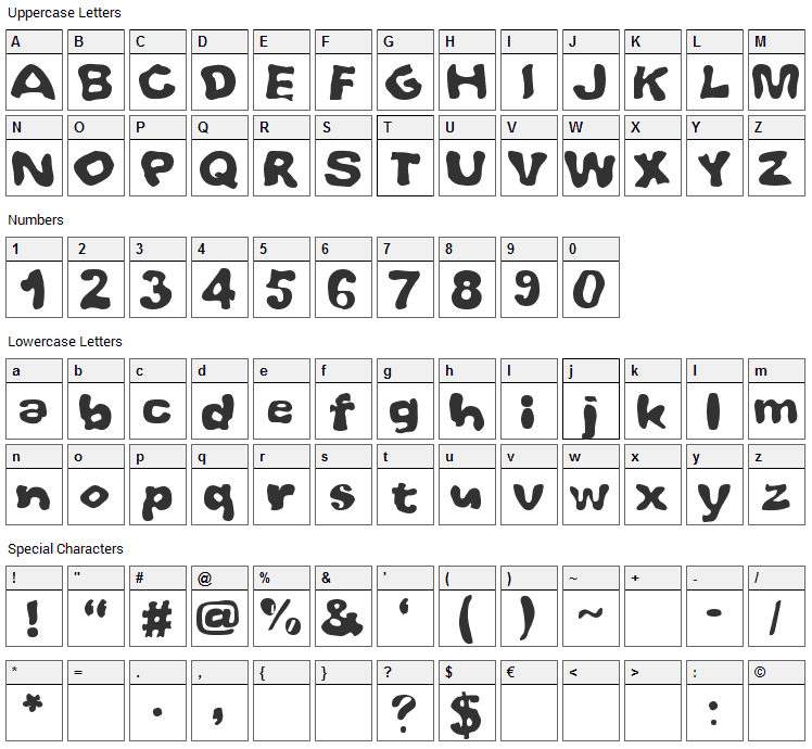 Whoobub Font Character Map