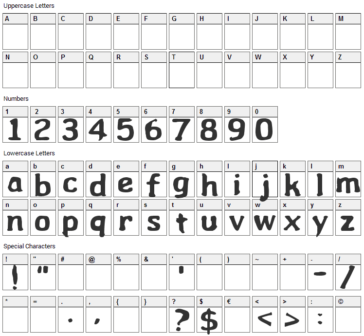 Wibble Font Character Map