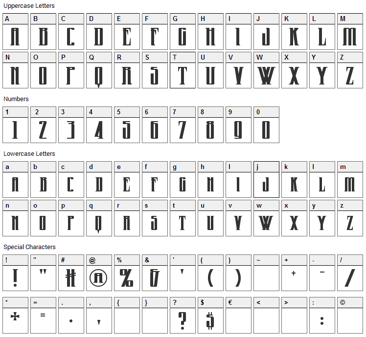 Wicked Queen Font Character Map