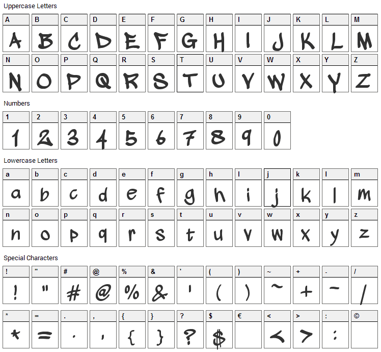 Wickhop Handwriting Font Character Map