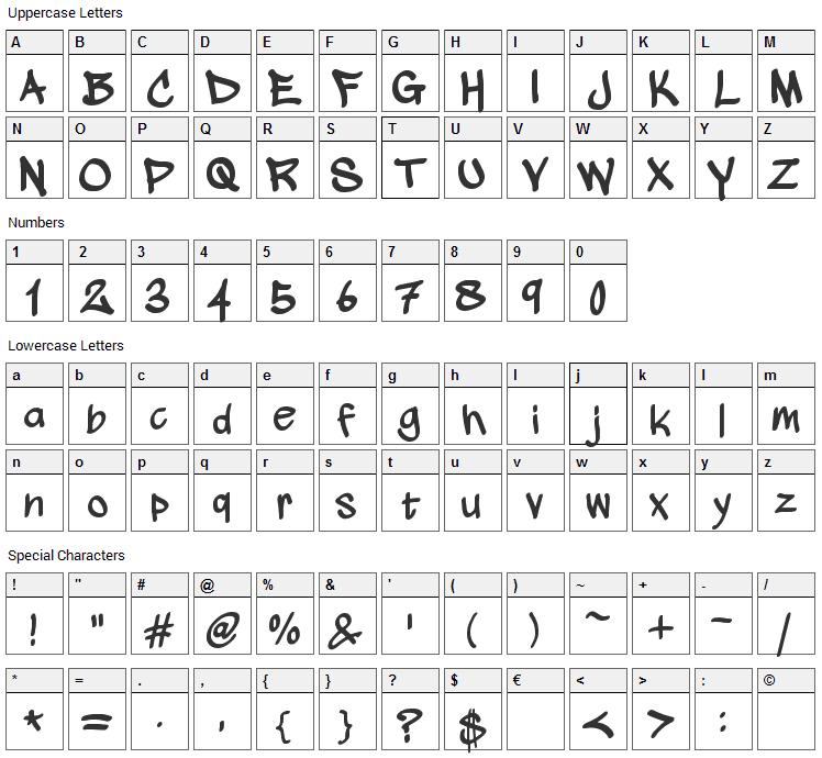 Wickhop Handwriting Font Character Map