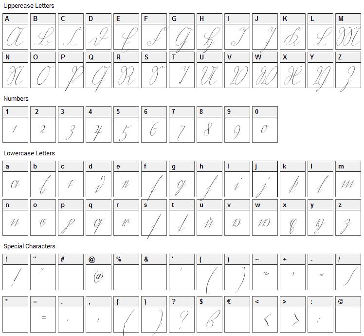 Wiegel Kurrent Font Character Map