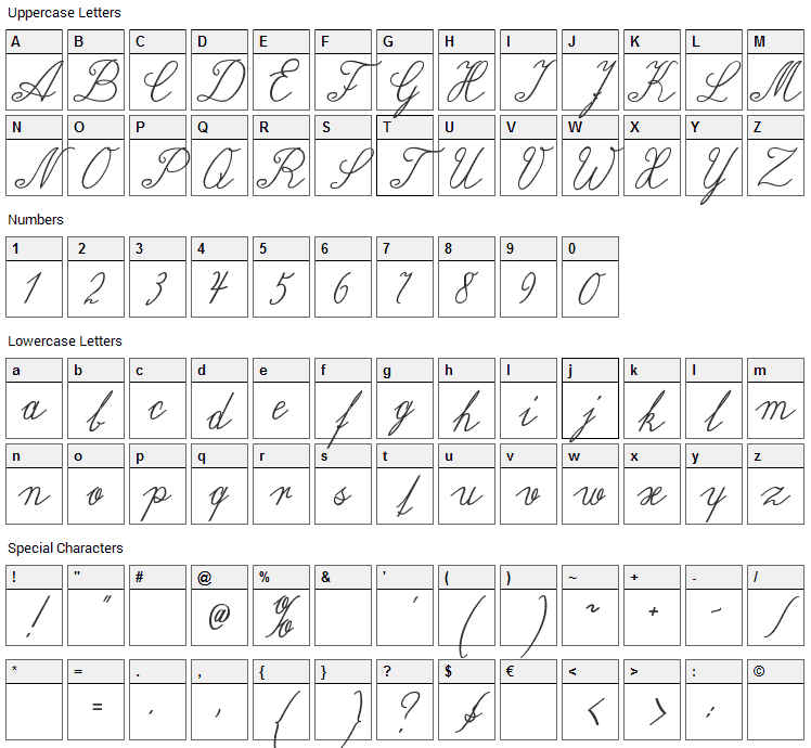 Wiegel Latein Font Character Map