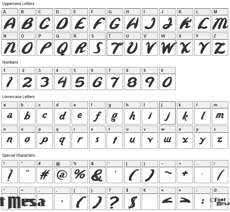Wild Ride Font Character Map