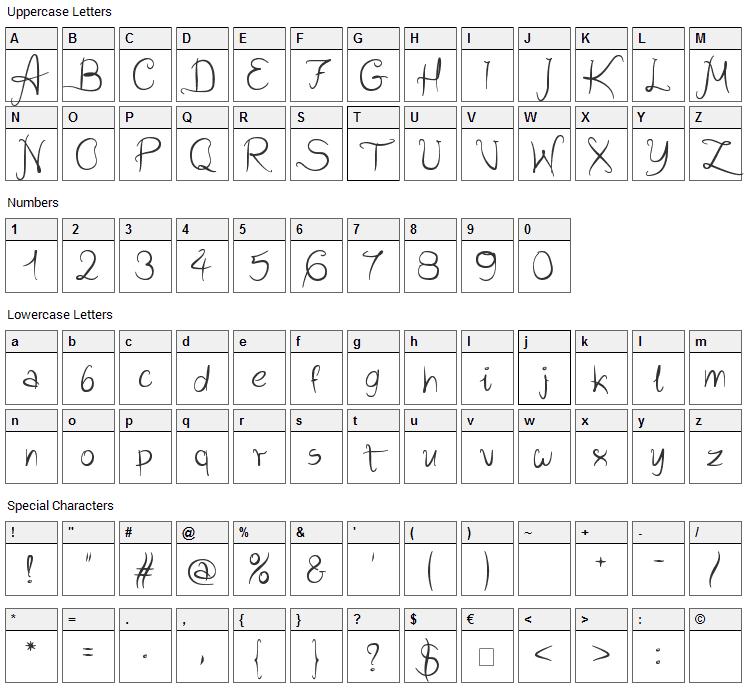 Wild Script Font Character Map