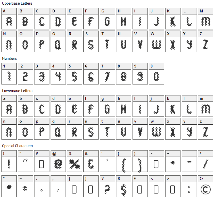 Wild Sewerage Font Character Map
