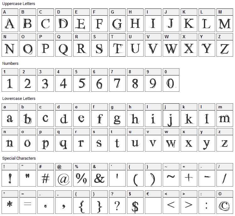 Wilderness Font Character Map