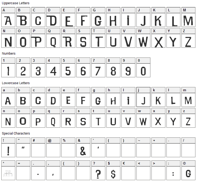 Will Robinson Font Character Map