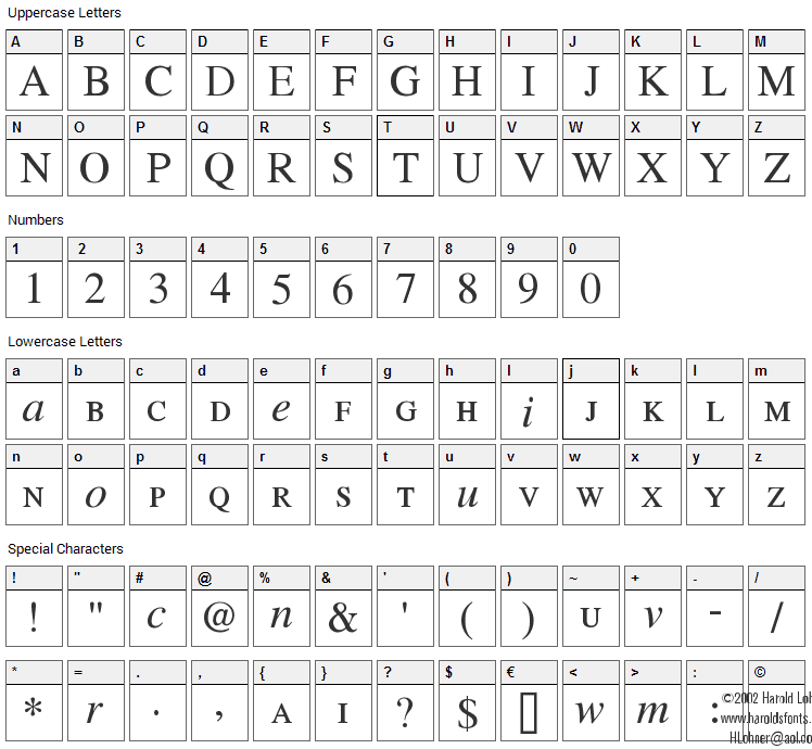 Willing Race Font Character Map