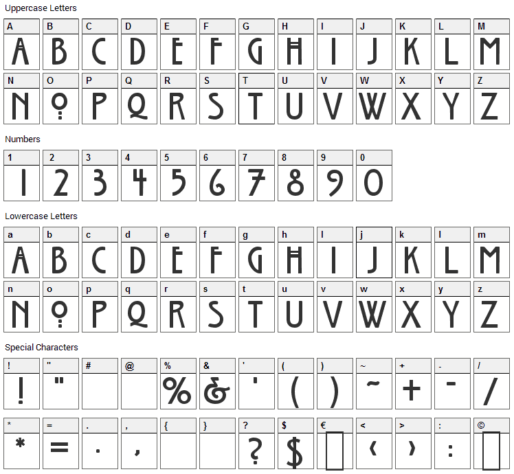 Willow Font Character Map