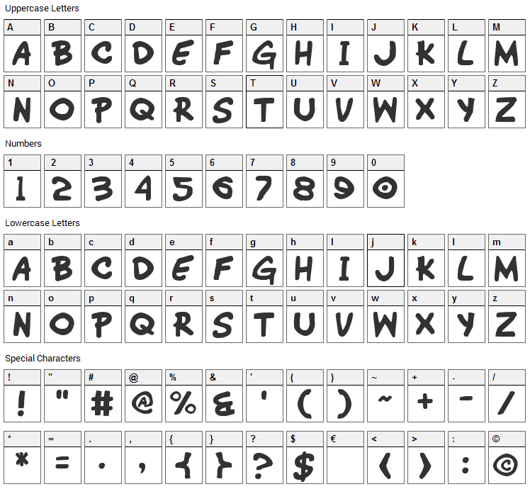 Wimp-Out Font Character Map