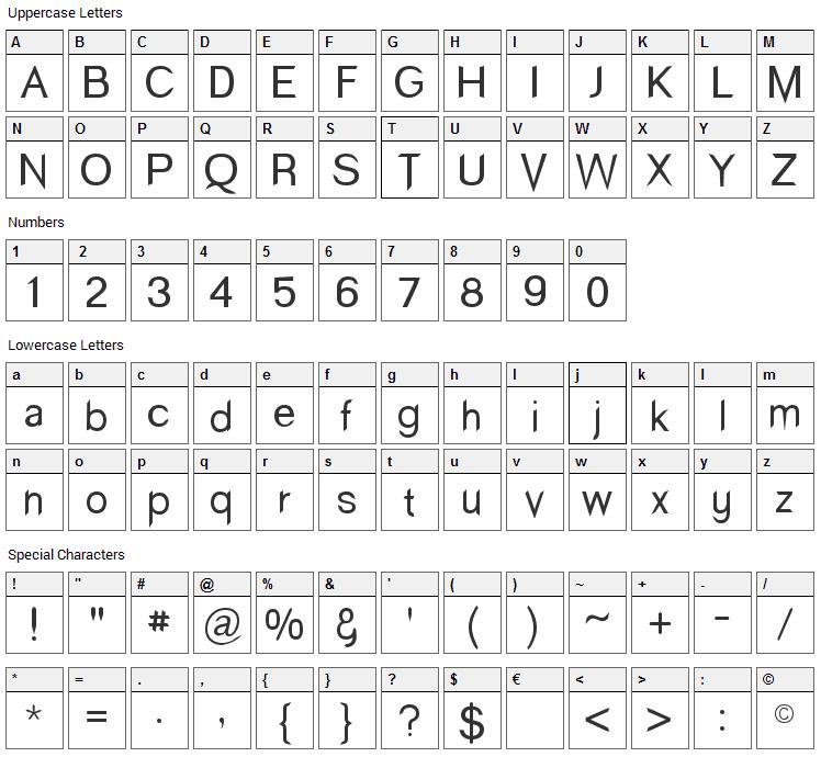 Wind Sans Serif Font Character Map