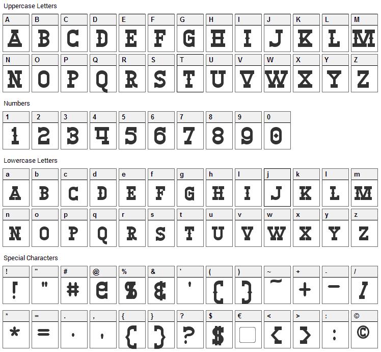 Winslett Font Character Map