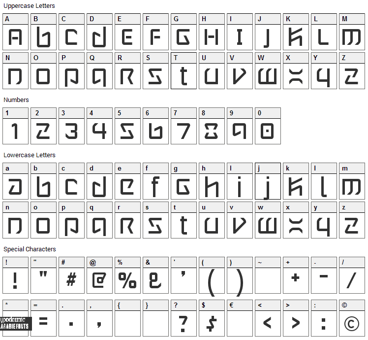 Wintermute Font Character Map