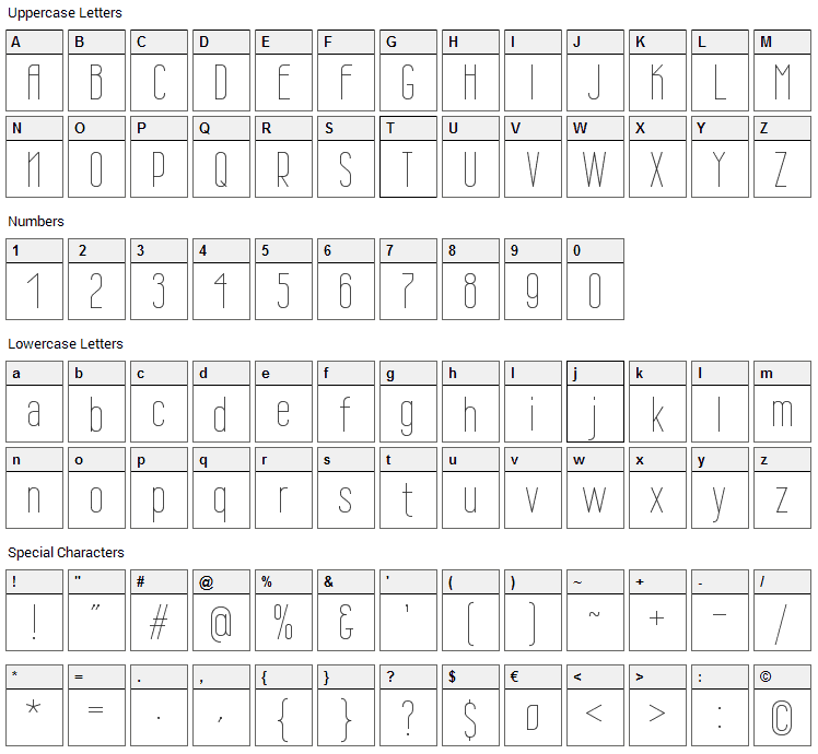 Wire One Font Character Map