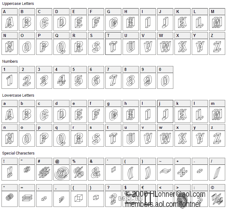 Wireframe Font Character Map