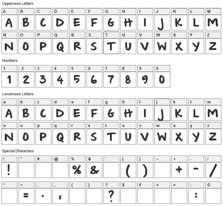 Wishlist 2009 Font Character Map