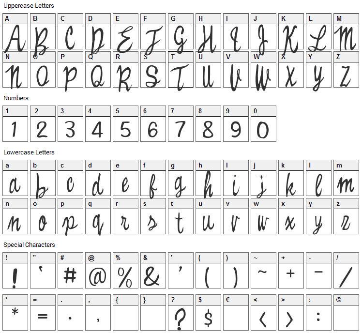 Witched Font Character Map