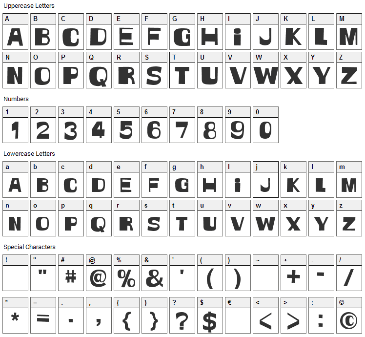 Witless Font Character Map
