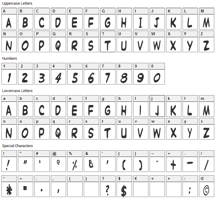 Witzworx Font Character Map